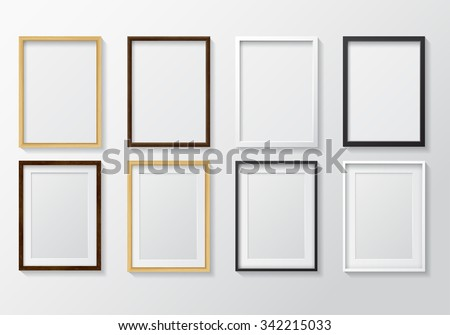 set of realistic light wood blank picture frames and dark wood blank picture frames hanging - Wall Hanging Photo Frames Designs