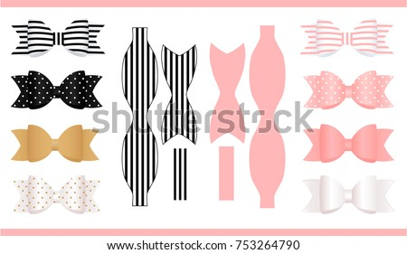 Set realistic paper bows pink gold stock vector 753264790 set of realistic paper bows pink gold white and black print and pronofoot35fo Gallery