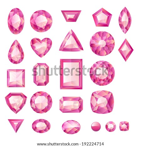 Set of realistic pink jewels. Colorful gemstones. Rubies isolated on white background. - stock vector