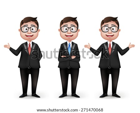 Set of Realistic Smart Different Professional and Business Man Characters With Eyeglasses in Long Sleeve and Necktie Isolated in White Background. Editable Vector Illustration - stock vector