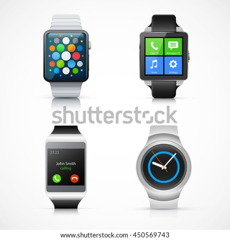 Set of realistic smart watch eps10 vector illustration