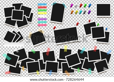 Set of realistic square frames, pins and paper stickers  isolated on transparent background. Vector illustration