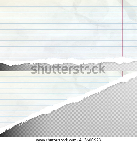 Set of Realistic torn paper pieces, isolated on transparent background. EPS 10 vector file included