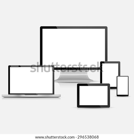 Set of realistic vector laptop, tablet computer, monitor and mobile phone template - stock vector