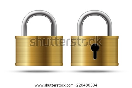 Set of realistic vector locks security icons isolated on white
