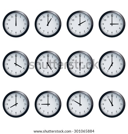 Set of realistic wall clocks, with the times set at every hour. - stock vector