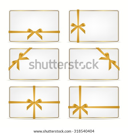 Set of realistic white gift cards with golden ribbons and gold frame. Vector EPS10 illustration.  - stock vector