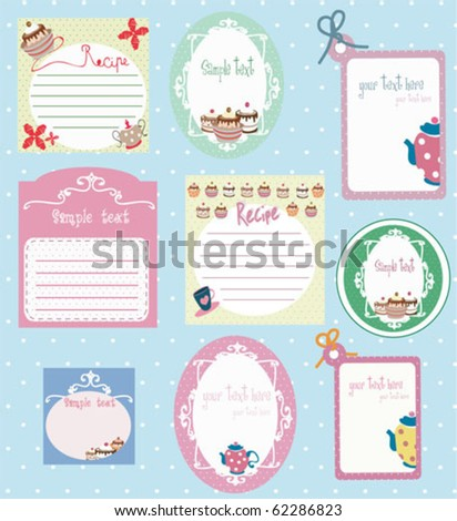 set of recipe tags with copy space - stock vector