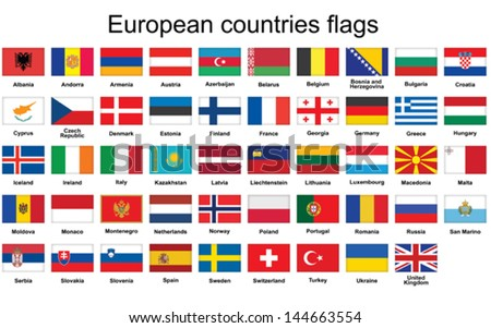 set of rectangle buttons with European countries flags - stock vector