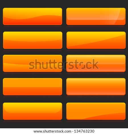 Set of rectangle horizontal shiny orange banner buttons with different gloss reflections over, eps10 vector - stock vector