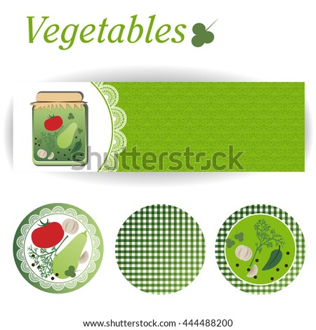 set of rectangular and three round stickers for canned vegetables