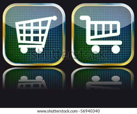 Set of rectangular vector buttons with basket icon. EPS10 - stock vector