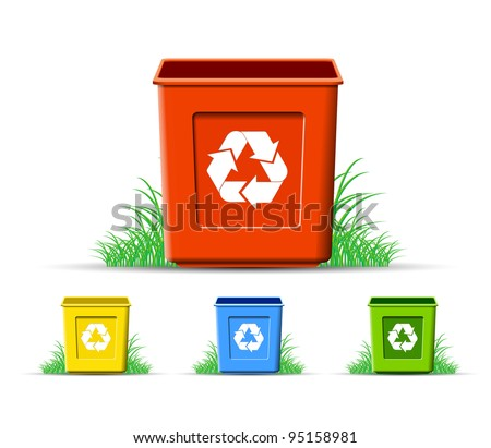 Set of recycle, environment protection, vector format - stock vector