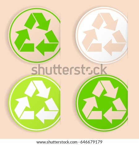 Set Recycle Symbols Sticker Style Stock Vector 2018 646679179