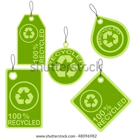 set of recycled tags - stock vector