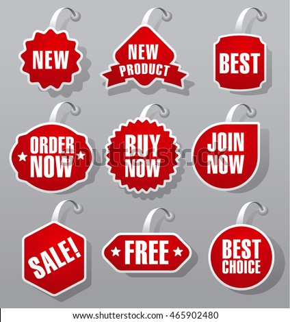 set of red advertising and promotion badges