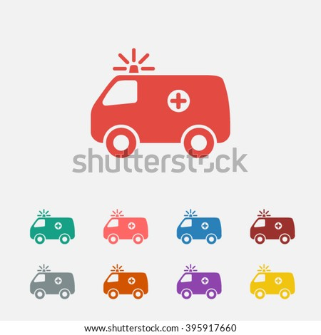 Set of: red Ambulance vector icon, green Ambulance icon, pink Ambulance icon, blue Ambulance icon, brown Ambulance icon, gray Ambulance icon, orange Ambulance icon, purple Ambulance icon,  - stock vector