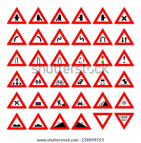 Set of red and black design triangle road safety sign. Collection of car and transportation warning traffic symbol. vector art image illustration, isolated on white background