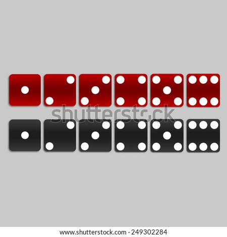 Set of red and black dices - stock vector