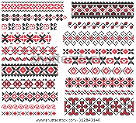 set of red and black ethnic patterns for embroidery stitch - stock vector