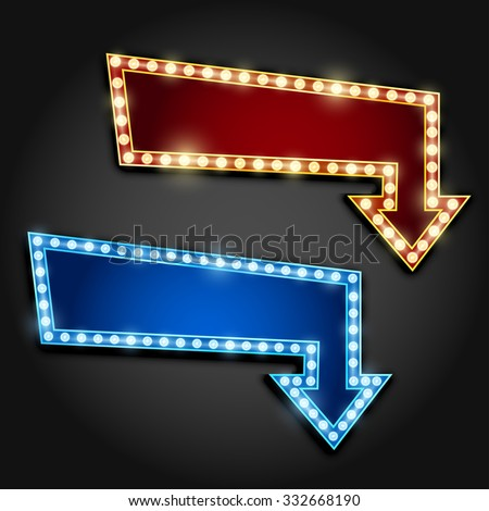 Set of red and blue arrows with bulb lamps. Vector illustration - stock vector