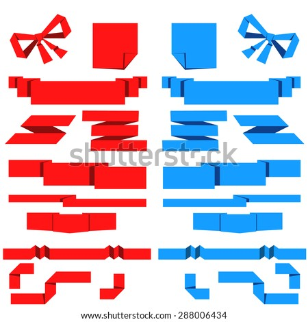 Set of red and blue paper banner. Vector illustration - stock vector