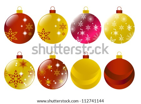 Set of red and gold christmas baubles Vector - stock vector