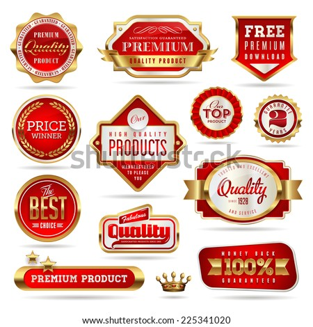 set of red and golden promo stickers/seals