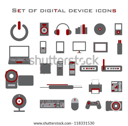 Set of red and gray electronic vector device icons.
