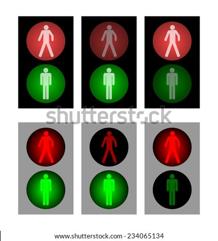 Set of red and green wait and walk pedestrian traffic light. illuminated stop and go semaphore symbol. black and gray color design. vector art image illustration, isolated on white background - stock vector