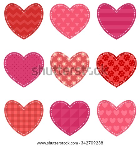 Set of red and pink hearts - stock vector