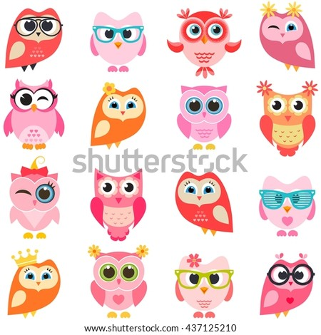 set of red and pink owls - stock vector