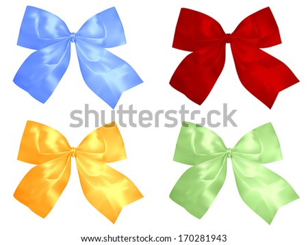Set of red and silver bows. Vector illustration