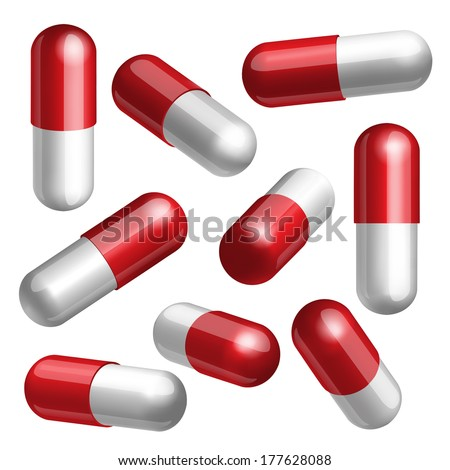 Set of red and white medical capsules in different positions Vector illustration
