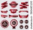 set of red badges , labels and ribbons. flat design concept. branding and sale decoration. vector illustration.