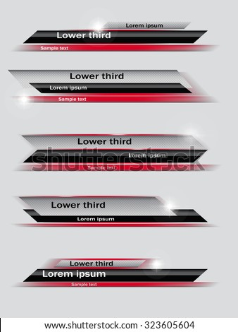 Set of red, black, gray banners of lower third. Vector illustration. - stock vector