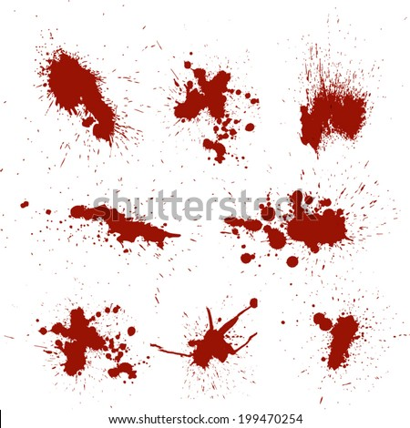 Set of Red Blood Splashes and splatters - stock vector