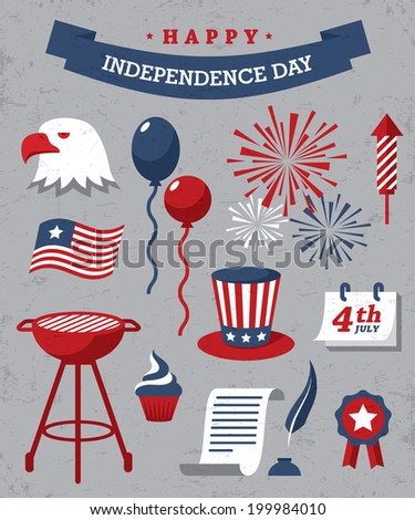 Set of red, blue and white design elements for Independence Day of USA on gray background - stock vector
