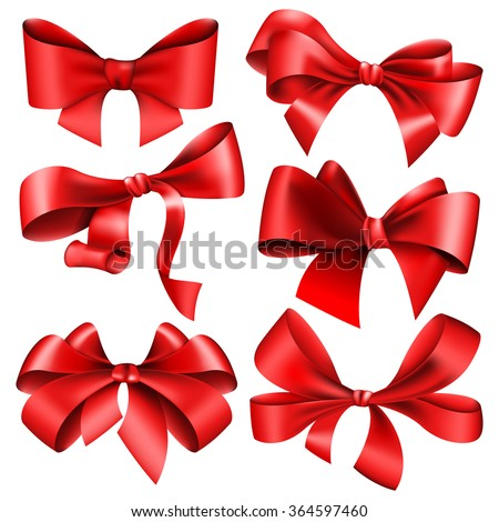 Set of 6 red bow - stock vector