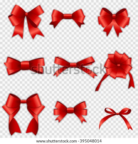 Set of Red Bow Vector illustration on Transparent Background. EPS10 - stock vector