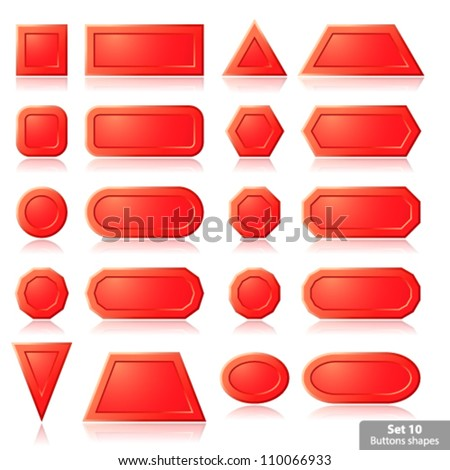 Set of red buttons shapes, vector illustration eps10