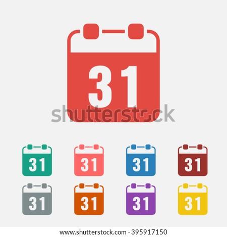 Set of: red Calendar vector icon, green Calendar icon, pink Calendar icon, blue Calendar icon, brown Calendar icon, gray Calendar icon, orange Calendar icon, purple Calendar icon, yellow Calendar icon - stock vector