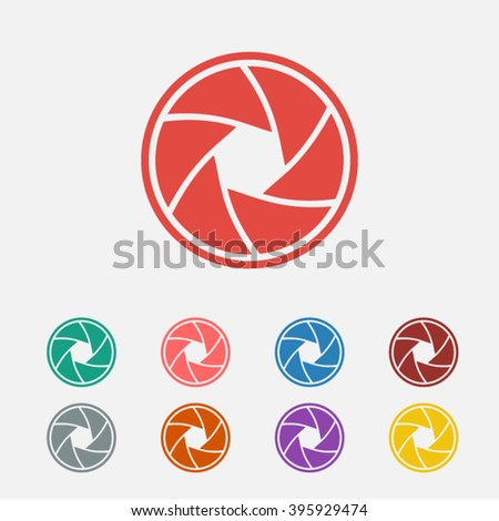 Set of: red Camera objective vector icon, green Camera objective icon, pink Camera objective icon, blue Camera objective icon, brown Camera objective icon, gray Camera objective icon, - stock vector