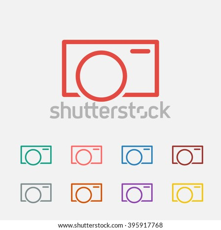 Set of: red Camera vector icon, green Camera icon, pink Camera icon, blue Camera icon, brown Camera icon, gray Camera icon, orange Camera icon, purple Camera icon, yellow Camera icon - stock vector