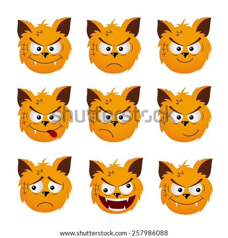 Set of red cat emoticons isolated on a white background. Vector illustration  - stock vector