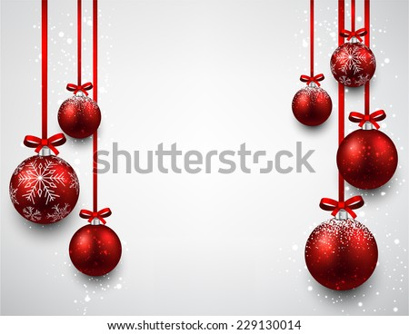 Set of red Christmas balls background. Vector illustration.  - stock vector