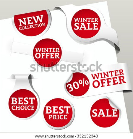 Set of red colored paper bookmarks and labels for shop and store with text new collection, winter sale, offer, best choice and price. Vector illustration. - stock vector