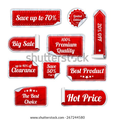 Set Of red crumpled paper SALE stickers on white background. Round, square and rectangular stickers. Vector illustration - stock vector