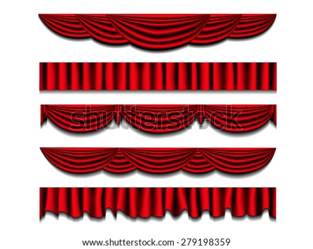 Set Red Curtain Elements Classic Theatre Stock Vector 279198359 ...