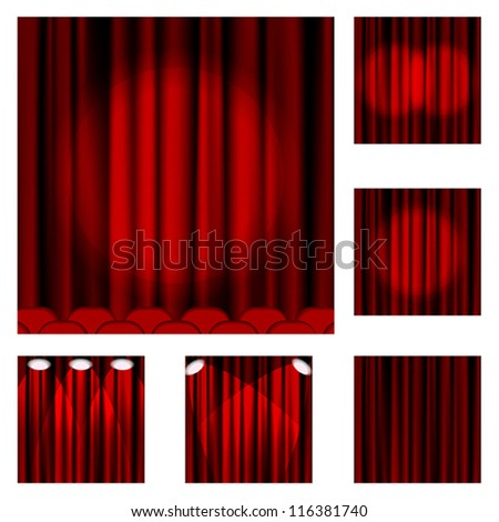 Set of red curtains to theater stage. Mesh.EPS10.Clipping Mask.This file contains transparency. - stock vector